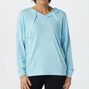 AnyBody Cozy Knit V-Neck Hooded Pullover 6220